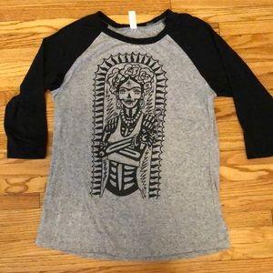 Tops - Rockabilly Chicana Print Women's Baseball T-shirt